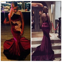 e33e63da7a Black Girls Burgundy Prom Dresses Mermaid Velvet Sexy Backless Gold Lace  Appliques African Formal Long Evening Party Gowns