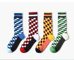Medias Al Por Mayor Masculinas Baratos-Tide Sport Medias Mens HIP HOP British Style Plaid Absorción de agua Sotton Multicolor Male Socks Wholesale