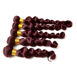 Cheap Loose Body Wave Hair Canada - 99j Loose Wave Malaysian Hair Bundles Cheap Burgundy Human Hair Weaves Double Weft Extensions 10pcs Straight Body Deep Kinky Curly 6 Styles