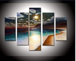 $enCountryForm.capitalKeyWord Canada - hand-painted OIL PAINTING ON CANVA ROOM DECOR Yellow beach WALL PICTUR FOR LIVE ROOM Landscape PAINTING PICTUR 5pcs set