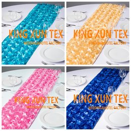 $enCountryForm.capitalKeyWord NZ - Hot Sale Satin Rosette Fabric Table Runner Fit On Table Cloth For Wedding And Event Decoration