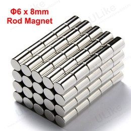 Bulk Cylinder Magnet D6 X 8 Mm 6mm X 8mm Neodymium Rare Earth Magnetic Curtain  Rods N52 50pcs Lot Freeshipping
