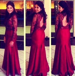 Champagne Mermaid Style Prom Dresses Canada - Dark Red Mermaid style Evening Dresses 2016 with Long Sleeve Sequins Applique Lace Elegant Vestidos de Festa Satin Formal Prom Party Gowns