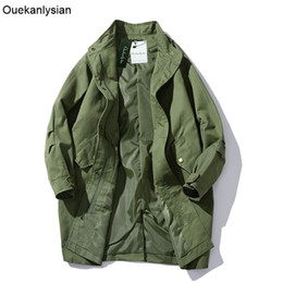 Abrigos Largos Con Estilo Baratos-Al por mayor- Ouekanlysian Spring Loose Mid largo Trench Coat para hombres Casual Elegante abrigo Single Breasted negro Army verde Windbreaker