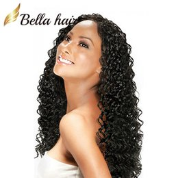 Half lace wig brazilian Hair online shopping - 100 Brazilian Hair Full Lace Wig Deep Wave Wavy Natural Black Color Top Quality Brazilian Remy Hair Wigs Bella Hair