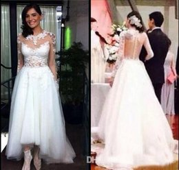 $enCountryForm.capitalKeyWord Canada - 2019 Cheap Applique Lace A Line Sheer Long Sleeves Wedding Dresses Jewel Illusion Button Back High Low Bridal Gown