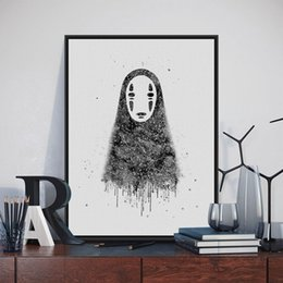 Painting Faces Australia - Original Watercolor No Face Japanese Hayao Miyazaki Anime Art Print Poster Abstract Wall Picture Canvas Painting Kids Room Decor