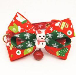 Santa Claus Figures Australia - Christmas Dog Collar Festiv Decoration Pet Bow Collar with Bell Santa Claus Snowman Elk Figure Pet Supplies Xmas Pet Fashion Accessory