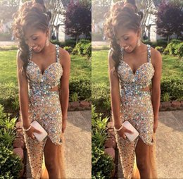 Crystal Back Beaded Evening Dresses Canada - 2018 Sparkly Sexy Prom Dresses Spaghetti Sleeveless Beaded Crystal Mermaid Side Slit Criss Cross Back Pageant Evening Gowns BO6056
