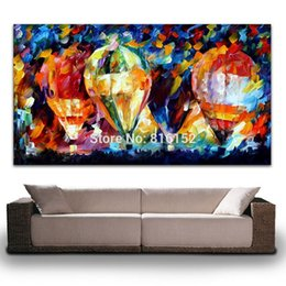 $enCountryForm.capitalKeyWord NZ - Palette Knife Oil Picture Colorful Balloon World Painting Printed on Canvas Mural Art for Home Living Office Wall Decoration