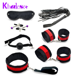 toy handcuffs Canada - 7 Pcs  Set Sex Bondage Kit Fetish Restraint Sex Toys For Couples Foot Handcuff Ball Gag Whip Collar Eye Mask Fun Adult Sexy Game