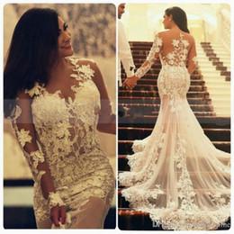 long black illusion neckline dress 2019 - Sexy Vestidos De Noiva Mermaid Lace Backless Wedding Dresses Illusion Bodice Jewel Neckline Sheer Long Sleeves Bridal Go