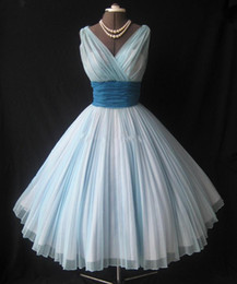 Discount sample gowns - Light Sky Blue Chiffon Tea Length Prom Dresses Vintage 1950's A Line Real Sample V-Neck Puffy Ruffle Party Gown