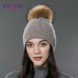 cashmere beanies for women Australia - Enjoyfur Casual Winter Fur Pompom Hat For Women Cashmere Wool Cotton Hat Beanies Big Real Raccoon Fur Pompom Beanies Cap Fox Fur Bobble Hat