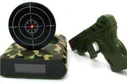 novelty desk toys Canada - Camouflage Fashion Mechanical Relogio Novelty Lcd Laser Gun Shooting Target Wake Up Alarm Desk Clock Gadget Fun Electronic Toy with box