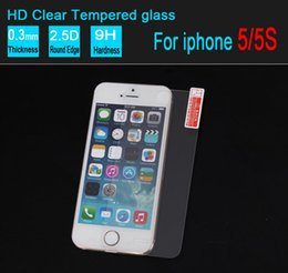 Iphone Glass Screen Guard Canada - 2.5D Tempered Glass For Iphone 5 5s Screen Protector 0.26mm Explosion Proof Film Guard For iphone 4 4s without retail box 500pcs