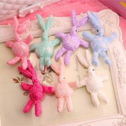 phone bunny 2019 - 35pcs Fashion Solid Cute Lace Bunny Plush Toys Kawaii Rabbit Soft Stuffed Animal Toys Diy Materials For Phone Bags Weddi