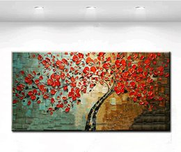 $enCountryForm.capitalKeyWord NZ - 100% Hand Painted Abstract red Tree Flower paintingTextured Knife Painting On Canvas Modern Oil Picture Wall Art Home Decor floral art
