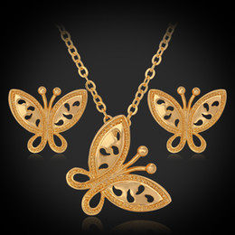 $enCountryForm.capitalKeyWord Canada - 18K Real Gold Plated Jewelry Sets Vintage Butterflies Pendant Earrings Choker Necklace Fashion Jewelry Wholesale YS121