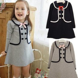 Girls double breasted dresses online shopping - New Baby girls preppy style dress Kids double breasted costume children long sleeve princess Dress Colors top quality