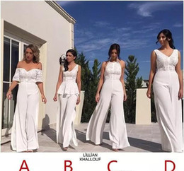 Discount wedding jumpsuits - 2017 Cheap Newest Jumpsuit Bridesmaid Dress Pant Suit Garden Country Formal Wedding Party Guest Maid of Honor Gown Plus