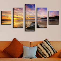 $enCountryForm.capitalKeyWord Canada - 5 Panel calm summer sunset abstract music oil painting Modern Home Wall Decor Canvas Picture Wall Painting abstract oil painting