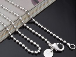 925 Sterling Silver Chains 24inch NZ - XMAS Wholesale Fine 925 Sterling Silver 2mm 5Pc 16-24inch Beads Chain Necklace Jewelry,Hot Piercing Necklace 925 Silver for Women Link Chain