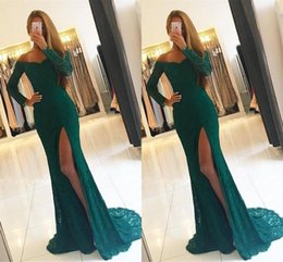 Barato Escuro Verde Sereia Vestidos De Noite-Gorgeous Sexy Mermaid Prom Dresses Dark Green Full Lace Off Shoulder Long Sleeves High Side Split Andar Comprimento Formal Evening Party Gowns