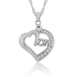 Mom Jewelry Necklace Canada - Heart Love Mom Necklace White Crystal Pendant Necklaces Link Chain Women DIY Jewelry Rhodium Plated 30pcs lot