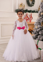 Black White Kids Pageant Dress Canada - Princess Illusion Long Sleeves Flower Girl Dress Puffy Lace Appliques White Kids Wedding Party Dresses Pageant Gowns with Fuchsia Bow