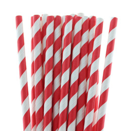 disposable straws free shipping Canada - 25PCS PACK premium colorful striped drink paper straw eco-friendly for baby shower &party supplies free shipping 2016 hot style