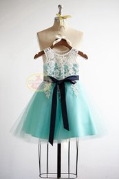 Turquoise flower girl dress online shopping - V Back Lace Turquoise Blue Tulle Flower Girl Dress Junior Bridesmaid Wedding Party Dress