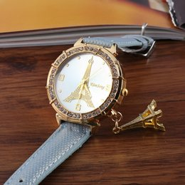 $enCountryForm.capitalKeyWord Canada - Fashion Lady Dress Watches Luxury Diamond Eiffel Tower Pendant Leather Wristwatches Crystal Eiffel Tower Women Quartz Clock