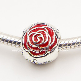 $enCountryForm.capitalKeyWord Australia - New 100% S925 Sterling Silver Belle's Enchanted Rose Charm Bead with Red Enamel Fits European Pandora Jewelry Bracelets