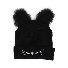 e53095ca6e806 Cat Ears Knitted Hats Keep Warm Beanie Fashion Lady Winter Hat Windproof  Black For Woman Gift 9lz C