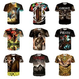 pirates t shirts wholesale Canada - 2015 t shirts for men Men's short-sleeved T-shirt 3D Pirate Skull Castle printing slim fit loose t shirt short sleeve