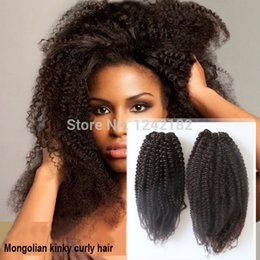 6a Kinky Curly Hair Weave NZ - Wholesale 6a virgin hair mongolian kinky curly hair weaves Double weft afro kinky curly hair 100g pc natural black hair 8-30inch