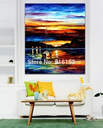 $enCountryForm.capitalKeyWord NZ - Palette Knife Oil Painting Sailing Boat Beautiful Sunset Seascape Picture Printed On Canvas For Office Home Wall Art Decor