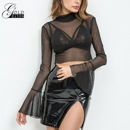 Toits De Barrière De Midriff Pas Cher-Or Mains Femmes Rayures Sheer Mesh Midriff-rayures Tops Shorts Mince Moulante D'été Sexy Stand Col Flare Manches Blouses
