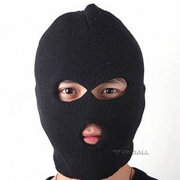 Wholesale Black Masks Canada - Black Caddice Winter Warm Full-Face Coverage Mask Headgear with Eyes & Mouth Holes for Outdoor Cold Weather Activities 5pcs