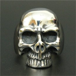 Top China Wholesale Fashion Jewelry NZ - 3pc lot Wholesale New Arrival Skull Head Ring 316L Stainless Steel Top Quality Men Boy Fashion Jewelry Punk Style Evil Skull Ring