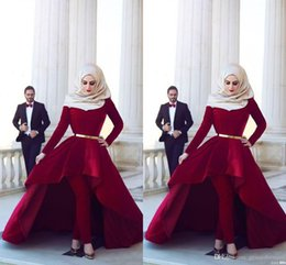 HigH neck arab dresses online shopping - Long Sleeves Arab Muslim Evening Dresses Middle East High Neck Gold Sash Hi Lo Velvet Formal Party Dresses with Pants Arabic Dresses