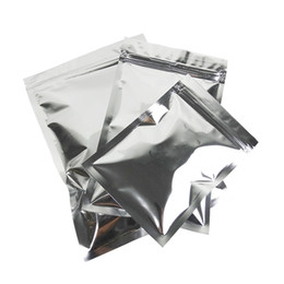 Chinese  Glossy Silver Aluminum Foil Zip Lock Mylar Bag Flat Resealable Pouch With Zipper For Food Tea Storage 6 Sizes manufacturers