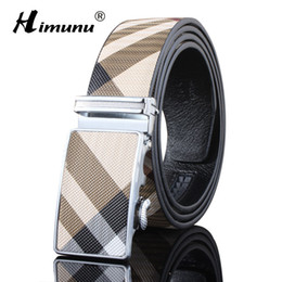 Discount mens designer belt brands - Wholesale- HIMUNU New Fashion Genuine Leather Mens Belt Brand Metal Automatic Luxury Designer Belt Men Top Quality Plaid