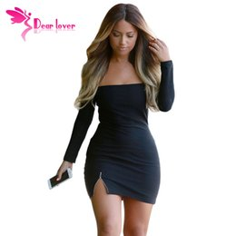 Robe Rayée Noire Pas Cher-Dear Lover Automne Fashion manches longues bretelles Vestidos Sexy Off-épaule zippé Slit Noir Slim Fit Mini Nigh Club robe LC22374 FG1511
