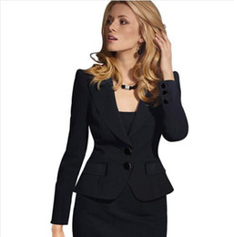 womens business blazers UK - Lcw New Fashion Womens Autumn Winter Long Sleeve Turn Down Collar Button Wear to Work Business Office Outwear Jacket Blazer