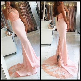 Tops Events Baratos-Grace Mermaid Halter Pink Formal Prom Vestidos Top Lace Vestidos De Novia African Backless Beads Evening Evening Wears Celebrity Gowns