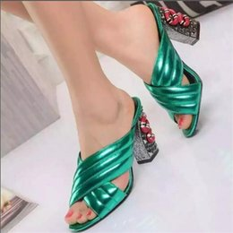 Ivory Gladiator Sandals NZ - 2017 High Heel Gladiator Sandals Woman Open Toe Cross Belt Snake Rivet Heel Shoes Women Fashion Muller Slipper Lady Party Shoes