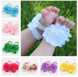 Wholesale 2015 Girls Baby Infant Newborn Barefoot Sandals Shoes Booties with Flowers Cochet colors for choices