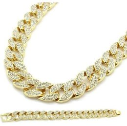 Ice Out Chains Canada - Gold CZ Cuban Link Chain Hip Hop Gold Plated Fully Iced Out Chain&Bracelet Set